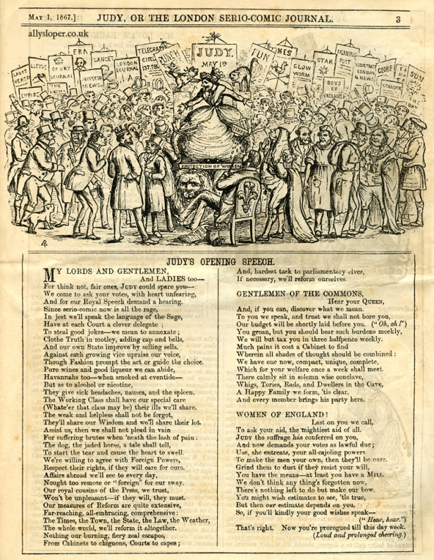First edition of Judy, or The London Serio-Comic Journal. 1st May 1867. Ally Sloper.