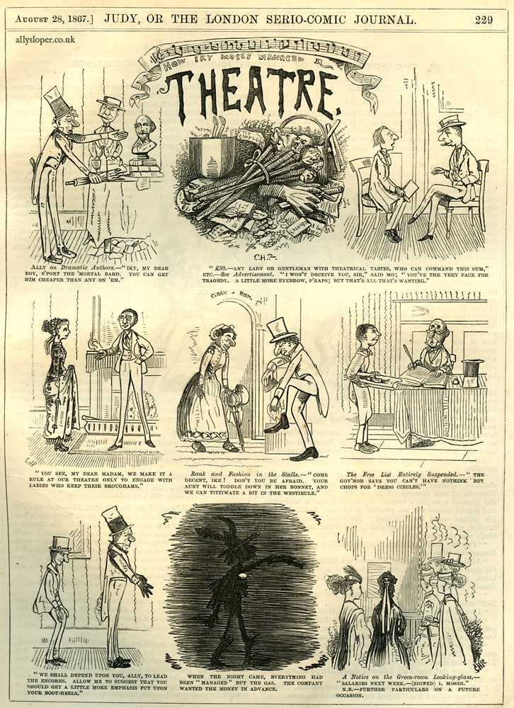 ally sloper, how iky moses manages a theatre, judy or the london serio-comic journal, 1867