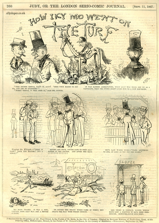 ally sloper, how iky mo went on the turf, judy or the london serio-comic journal, 1867