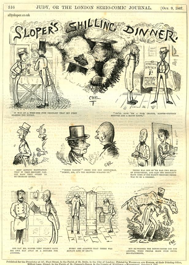 ally sloper, sloper's shilling dinner, judy or the london serio-comic journal, 1867