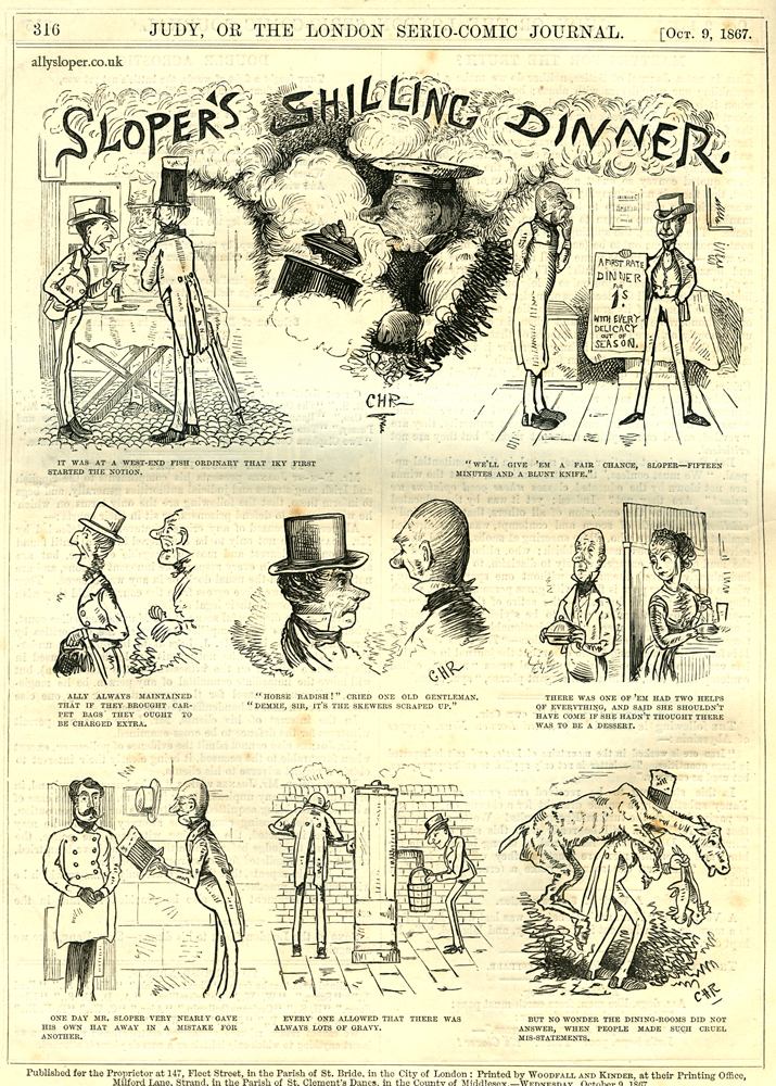ally sloper, sloper's shilling dinner, judy or the london serio-comic journal, 1867