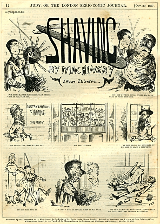1867-10-30 Shaving by Machinery - ally sloper- judy