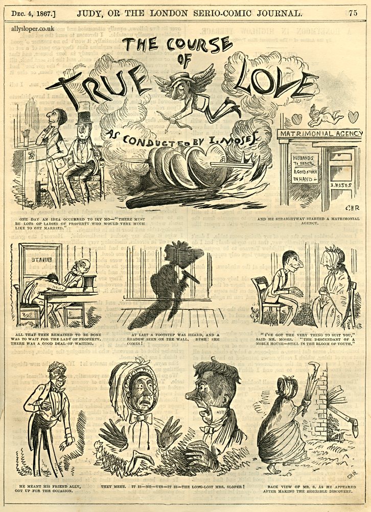 ally sloper, the course of true love as conducted by isaac moses, judy or the london serio-comic journal, 1867