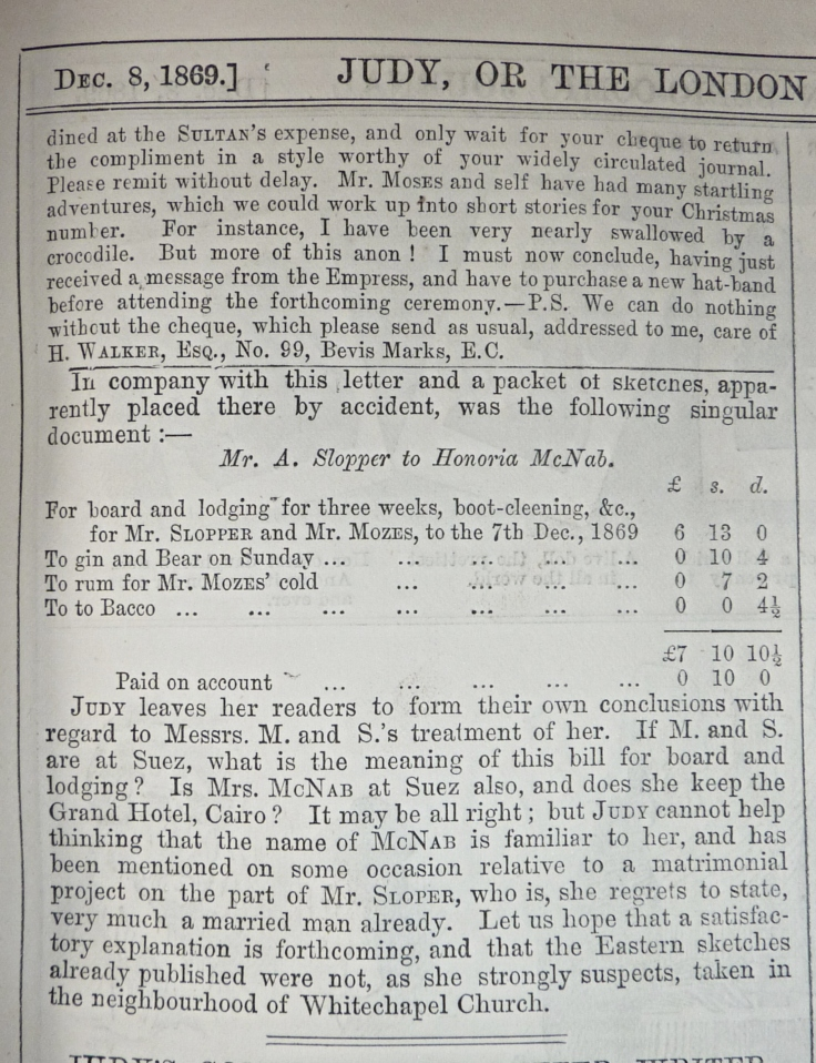Judy or the london serio comic journal 1869 ally sloper and iky mo