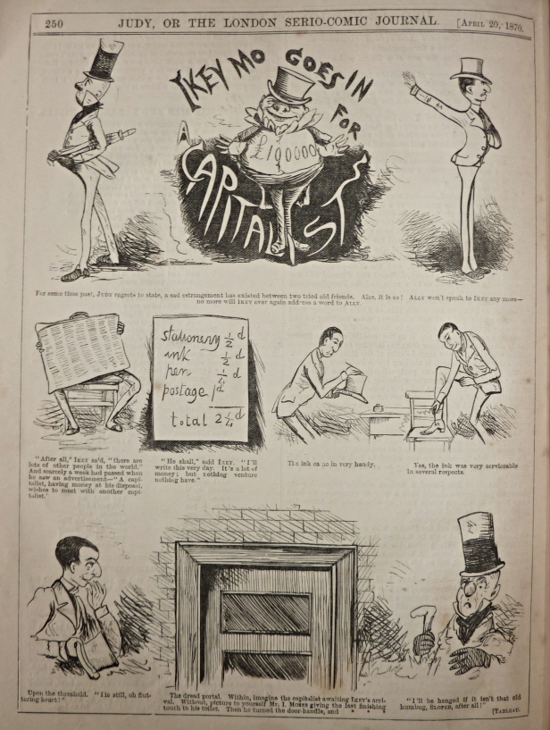 judy or the london serio comic journal, 1870, ally sloper, iky mo goes in for a capitalist