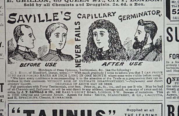savilles capillary germinator hair restorer - victorian medical advert - quackery