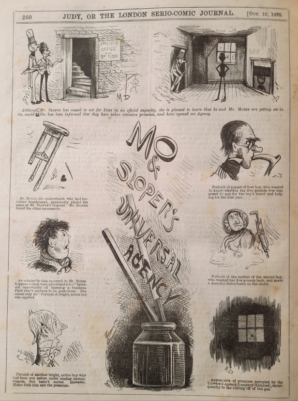 19 october 1870 - mo and sloper's universal agency - judy or the london serio comic journal